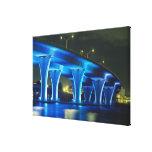 Night bridge at Port of Miami, Florida Canvas Print