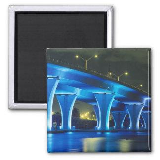 Night bridge at Port of Miami, Florida Magnet