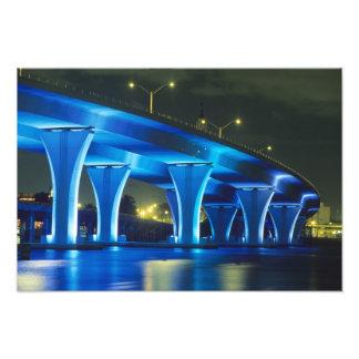 Night bridge at Port of Miami, Florida Photo Art