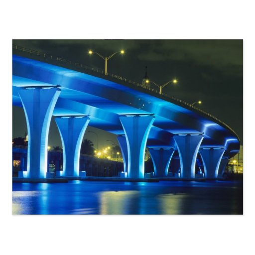 Night bridge at Port of Miami, Florida Postcard