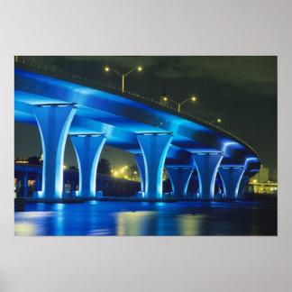 Night bridge at Port of Miami, Florida Poster