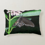 Night Butterfly Black Swallowtail Nature Photo Decorative Pillow
