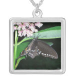 Night Butterfly Black Swallowtail Nature Photo Silver Plated Necklace