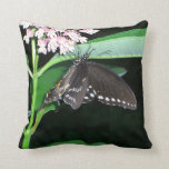 Night Butterfly Black Swallowtail Nature Photo Throw Pillow