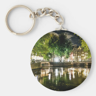 night canal in Amsterdam, Netherlands Key Chains