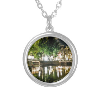 night canal in Amsterdam, Netherlands Pendant