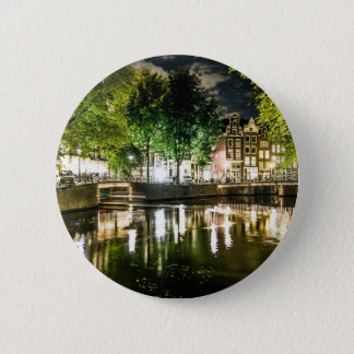 night canal in Amsterdam, Netherlands Pinback Button