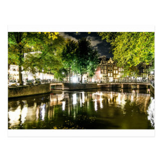 night canal in Amsterdam, Netherlands Postcard