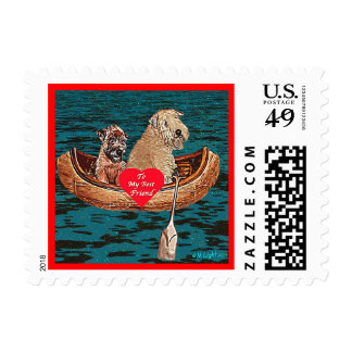 """Night Canoe: """"Best Friend"""" Postage Stamps"""