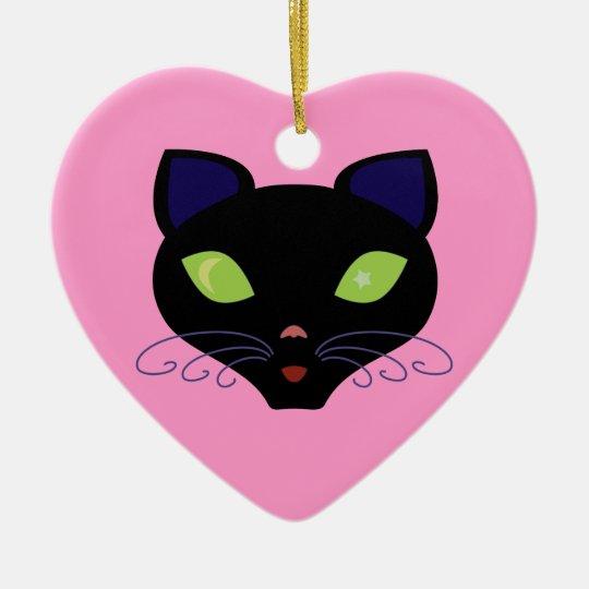Night Cat Ceramic Ornament