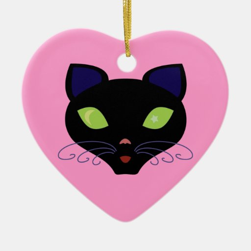Night Cat Double-Sided Heart Ceramic Christmas Ornament