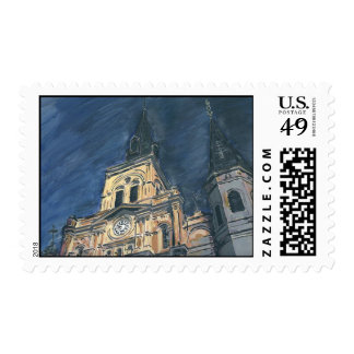 Night Cathedral Postage Stamp