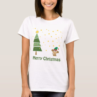 Night Christmas Scene with Cute Monkey T-Shirt
