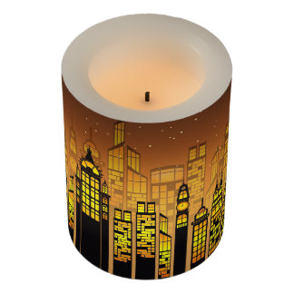 Night. City Lights. Flameless Candle