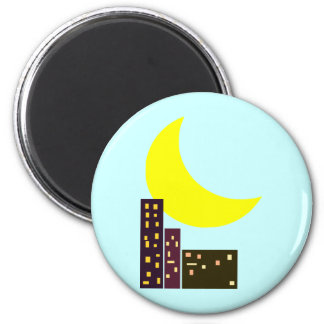 night city moon card 2 inch round magnet