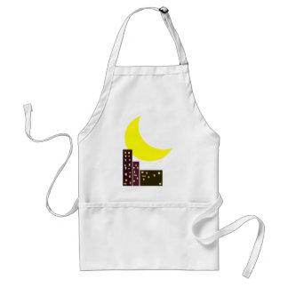night city moon card adult apron