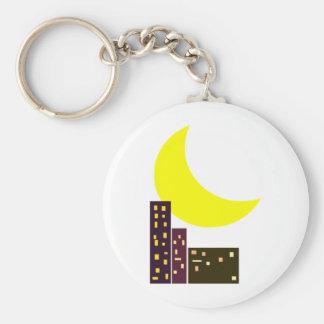 night city moon card basic round button keychain
