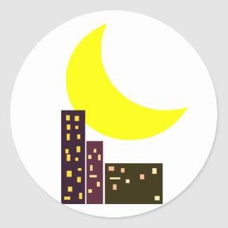 night city moon card classic round sticker