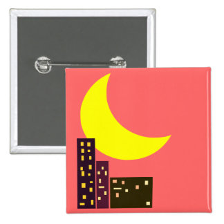 night city moon card pinback button