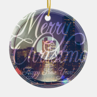 Night city ON the record player Ceramic Ornament