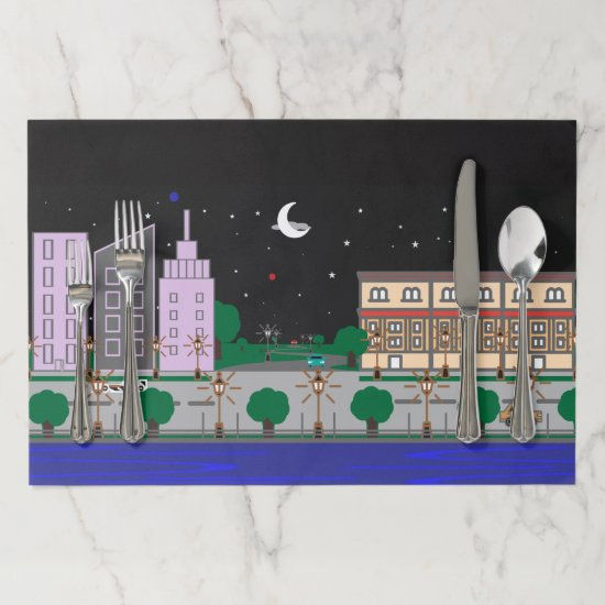 Night City Paper Placemat