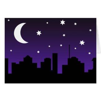Night City Skyline Skyscraper Silhouette Greeting Card