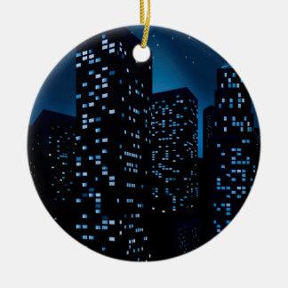 Night Cityscape Background Ceramic Ornament