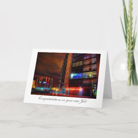 Night Cityscape - Congratulations on your New Job Card