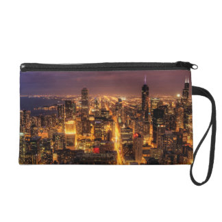 Night cityscape of Chicago Wristlet Purses