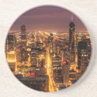 Night cityscape of Chicago Coaster