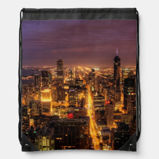 Night cityscape of Chicago Drawstring Bag