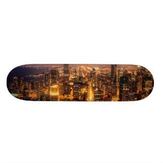 Night cityscape of Chicago Skateboard