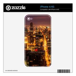 Night cityscape of Chicago iPhone 4 Decal