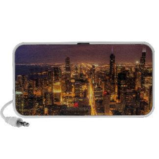 Night cityscape of Chicago iPod Speaker