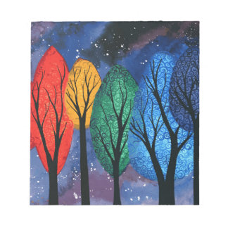 Night colour - rainbow swirly trees starry sky notepad