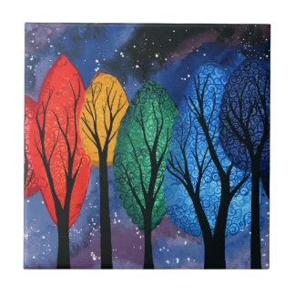 Night colour - rainbow swirly trees starry sky tile