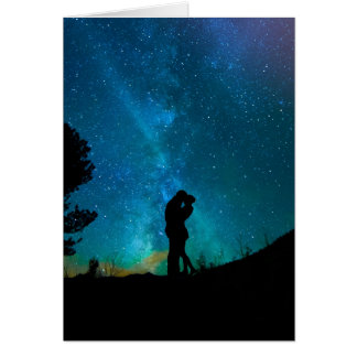 Night Couple Kissing Romantic Colorful Starrry Sky Card