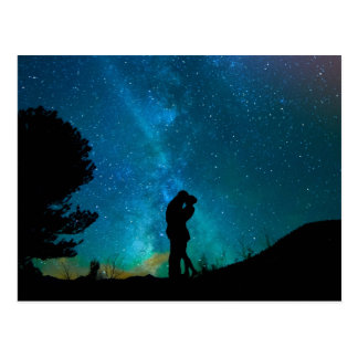 Night Couple Kissing Romantic Colorful Starrry Sky Postcard