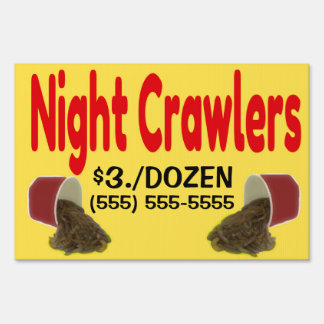 Night Crawlers For Sale Advertisement Yard Sign