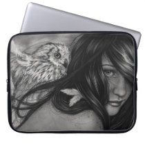 Night Creatures Owl Girl Laptop Sleeve