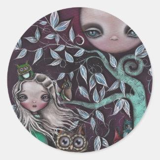 Night Creatures Owls Classic Round Sticker