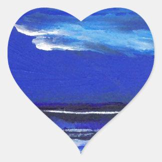 Night Dance Ocean Waves Surf Art Sailing Decor Heart Sticker