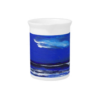Night Dance Ocean Waves Surf Art Sailing Decor Beverage Pitcher