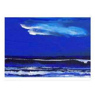 Night Dance Ocean Waves Surf Art Sailing Decor Postcard