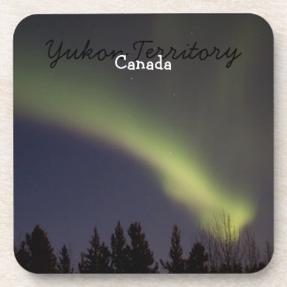 Night Dancing; Yukon Territory Souvenir Drink Coaster