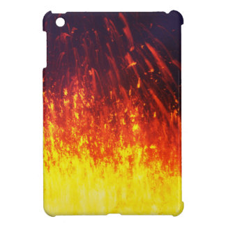 Night eruption volcano: fireworks lava in crater iPad mini cover