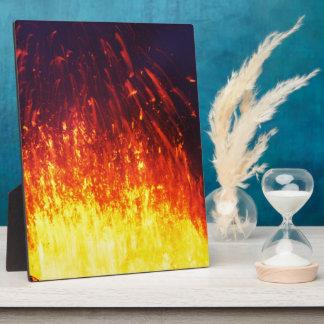 Night eruption volcano: fireworks lava in crater plaque
