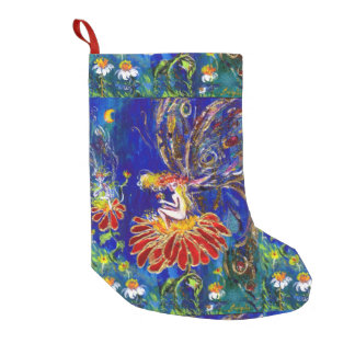 NIGHT FAERY ON THE RED FLOWER SMALL CHRISTMAS STOCKING