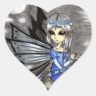 Night fairy heart sticker