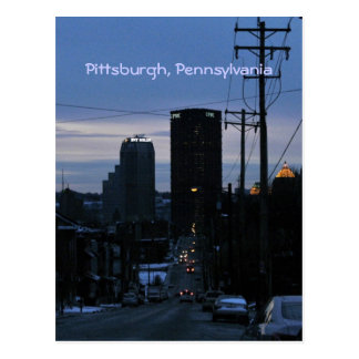 Night Falls on Pittsburgh, PA Postcards